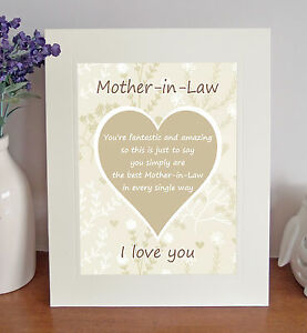 MOTHER-IN-LAW I Love You Free Standing Picture 8 x 10 Print Sentimental Gift