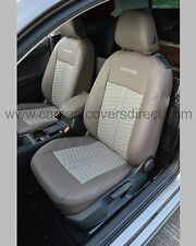 Volkswagen VW Golf MK7 Leather Car Seat Covers - Brown & Cream honeycomb centres