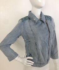 Guess Blue Denim Motorcycle Biker Jacket Cropped Distressed Zipper Front M NWT