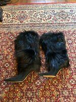 JIMMY CHOO Black Nubuck Leather Boots EUC Size US 8 Narrow