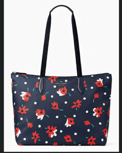BNIb Spade Mel Nylon Packable Tote Blue with red and white flowers Sold Out