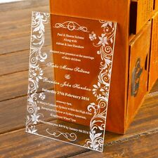 50 Elegant Engraved Butterfly Acrylic Wedding Invitations,Birthday Gift,Wedding