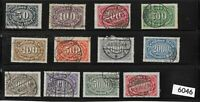 #6046    Full Stamp set / Large Numeral / Germany  / 1922 - 1923   Sc198 - Sc209