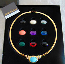 NEW Joan Rivers 12PC Interchangeable OMEGA 10 SLIDE NECKLACE Cabochons Blue Pink