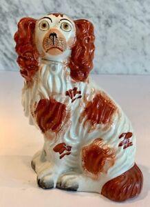 "Antique Staffordshire Comforter Spaniel Dogs Russet White 19th Century 7.5"""