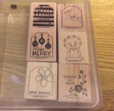 Stampin' Up! 6 Wooden Mounted Rubber Stamps Stamping Tags So Much Holiday