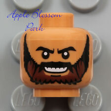 NEW Lego Medium FLESH MINIFIG HEAD w/Dark Black Brown Moustache Man Beard Hair