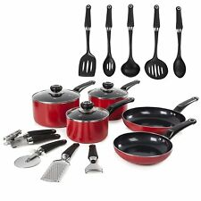Morphy Richards 14 Piece Cookware Set Glass Lid Aluminium Non Stick Tool Set New