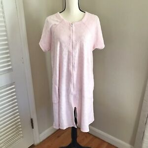 Vtg Goodnight Womens Terry Cloth Robe Dressing Gown Zip Knee Length Pink Large