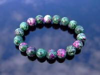 Ruby Zoisite 10mm Natural Dyed Gemstone Bracelet 6-9'' Elasticated Healing Stone