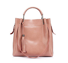 Womens Pink Synthetic leather Handbags Large Totes Shoulder Bags with  Tassels 51b8d7783ed74