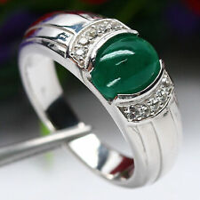 NATURAL 7 X 9mm. CABOCHON GREEN EMERALD & WHITE TOPAZ RING 925 STERLING SILVER