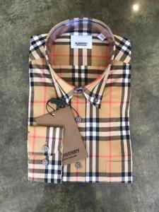Burberry London Men's Camel Plaid Casual Button Down Shirt