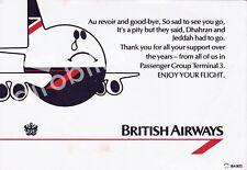 British Airways Boeing 747 Card leaving Jeddah and Dhahran - copy 6x4 inch PRINT