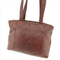 Prada Tote bag Brown Lamb leather Woman unisex Authentic Used T9087
