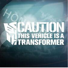 CAUTION VEHICLE TRANSFORMER Car window wall decals stickers laptop glass decor