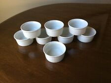 Vintage Mint Pullivuyt White Porcelain Ramekins, France, Pleated, set of 8, 3oz