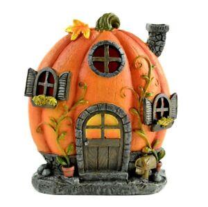 "Pumpkin House LED Lit 6"" color changing MI 50033 Miniature  Garden light up BO"