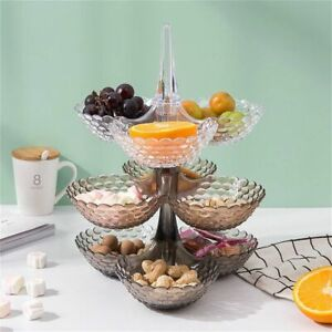 Multi Layer Plastic Plate Tray Dried Fruits Snacks Platter Bowl Rack Organizer