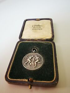 Vintage Boxed Silver Football Chain Fob