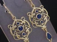 E104 Genuine 9K Solid Gold NATURAL Sapphire Drop Dangle Earrings Filigree Ornate