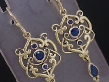 E104 Genuine 9K Solid Gold NATURAL Sapphire Drop Dangle Earrings Filigree Ornate