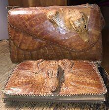 Vintage Alligator Purse for Restoration Miniature Caiman Pure Crocodile Bags