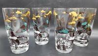 Vintage Ducks Geese Drinking Tumblers Barware Glasses 8 Oz Birds- Set of 4