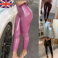 Women Ladies Latex Leather PU Trousers High Waist Skinny Leggings Pencil Pants
