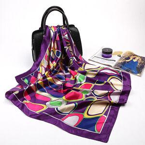 "Women's Red Faux Silk Square Scarf Fashion Geometric Printed Shawl Wrap 35""*35"""