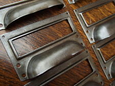 8 Vintage Industrial Style Steel Cup Handles with Card Frame Top desk drawer cup