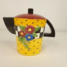 Vintage 1995 Orange And Black Wide Mary Engelbreit Teapot Coin Piggy Bank