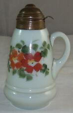 Vintage Light Green Milk Glass Syrup Pourer Pitcher Bottle & Hinged Metal Lid