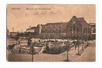 ALTE ANSICHTSKARTE VOM BAHNHOF AACHEN UND KRIEGERDENKMAL/1920