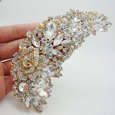 New Elegant Bridal Bridesmaid Clear Rhinestone Crystal Rose Flower Brooch Pin