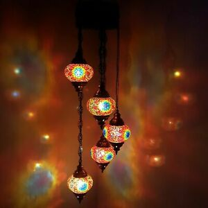 Turkish Moroccan Chandelier Glass Mosaic Hanging Lamp Ceiling Light Lamp