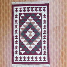 Kilim Dhurrie Floral  3x5 Geometric Door Mat Red Colour Wool Carpet Hand Woven