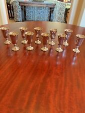 10 WEB STERLING SILVER SHOT CORDIAL GLASSES