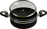 (High Quality) - Non Stick Black Casserole Pot - (20cm) - With Glass Lid