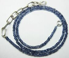 57.00 Ct Natural Iolite Micro Faceted Beads 19.5''Inch Necklace 4 MM S110