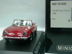 WOW EXTREMELY RARE Fiat 850 Sport Spider by Giugiaro 1968 Red 1:43 Minichamps