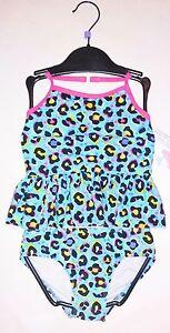 Girls cheetah leopard print tankini swimsuit turquoise 4 5 NEW 2 piece