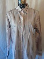 Eddie Bauer Womens Shirt Size L Multicolor Purple Stripes Long Sleeve Button Up