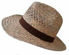 Men's Hat Classic Straw Hat Natural Straw up to Size 63 XXL Curved Brim
