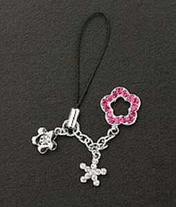 Cell Phone Charm Strap Christmas Gift Mobile Phone Silver & Pink Crystal Flower