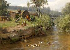 "Dream-art Oil painting Poultry cocks hens ducks duckings in creek landscape 36"""
