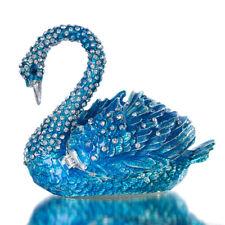 H&D Diamond Blue Swan Trinket Jewelry Box Hinged Figurine Collectible Ring