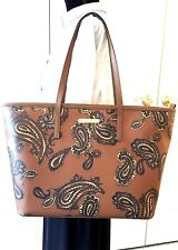 Michael Kors Emry Paisley Large Top Zip Tote Saffiano Leather 'Luggage' NWT $348
