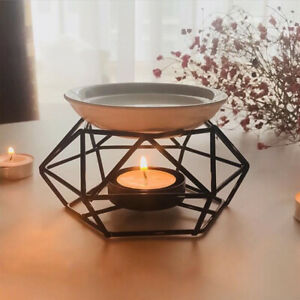 Geometric Iron Craft Essential Oil Aroma Burner Candle Holder Home Office Props