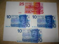 Old Netherlands Banknote Collection Lot 3x 1968 10 Gulden 1x 25 1971 World Paper
